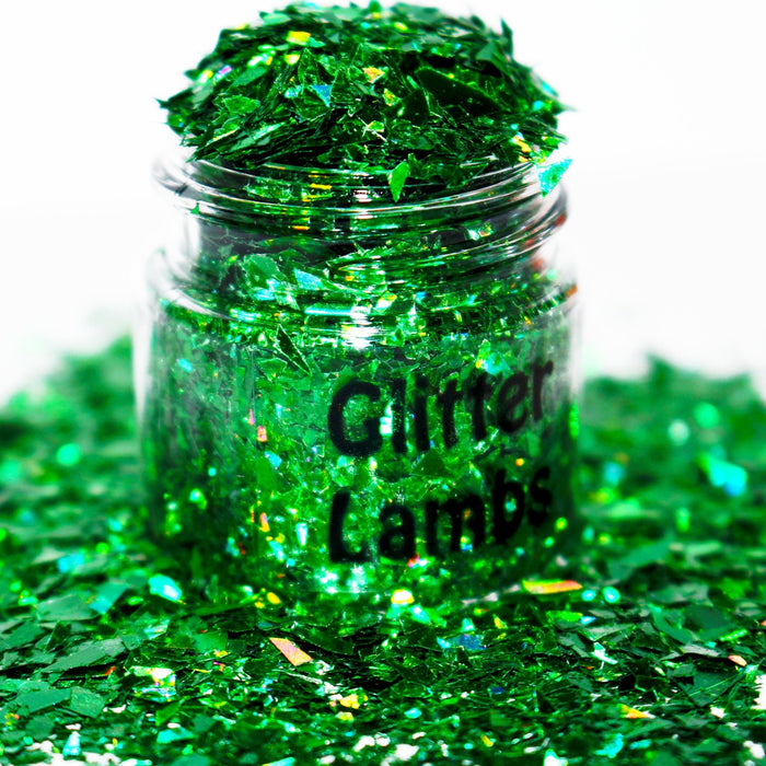 You Talking Trash? A green mylar flake glitter for crafts, nails, resin, acrylic pouring, tumbler cups, diy projects and more by GlitterLambs.com