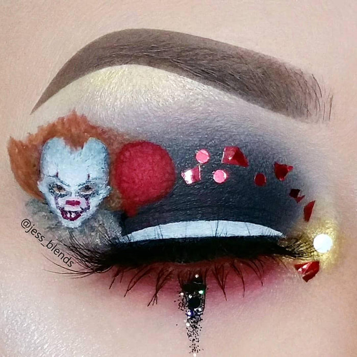 You'll Float Too Halloween body glitter from the movie IT Pennywise the clown worn by @jess_blends GlitterLambs.com #it #pennywise #youllfloattoo #halloweenglitter #halloween