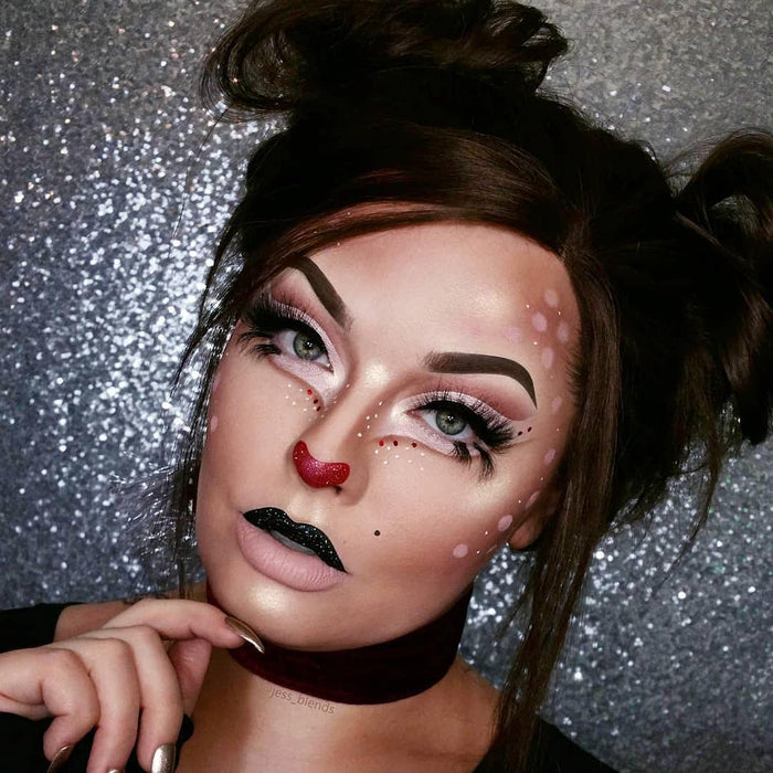 "Glitter Lambs ""You'll Float Too!"" Body Glitter by GlitterLambs.com worn by @jess_blends #makeup #reindeermakeup #reindeer #glitter #glittermakeup #glitterlambs #christmas #christmasmakeup #makeuplooks"