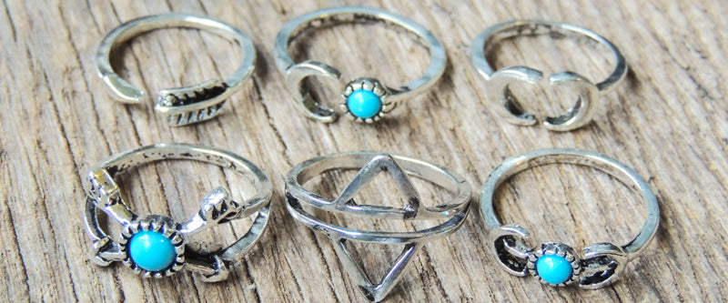 Set of 6 Boho Midi Rings Bohemian Faux Turquoise Rings