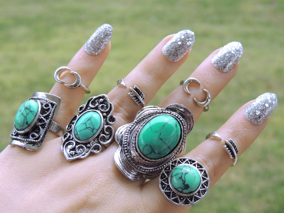Wholesale Jewelry Lot | 56 Bohemian Faux Turquoise Rings