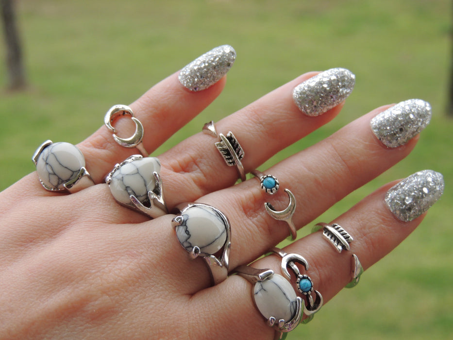 Wholesale Jewelry Lot | 46 White Faux Turquoise Rings by GlitterLambs.com