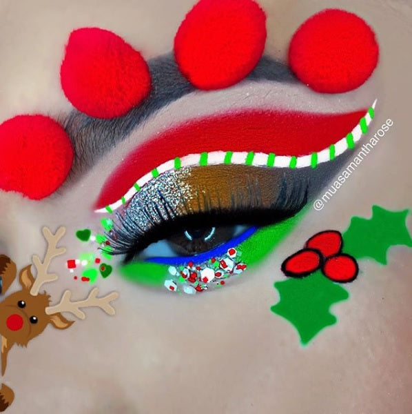 "@muasamantharose is wearing @glitterlambs ""Elves And Frosted Christmas Fairies"" mixed with ""Elves Love Candy Cane Cereal"" chunky glitter in her Christmas Reindeer makeup look!"