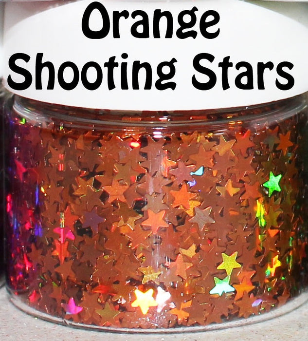 Orange Shooting Stars Body Glitter GlitterLambs.com Chunky Holographic Body Glitter