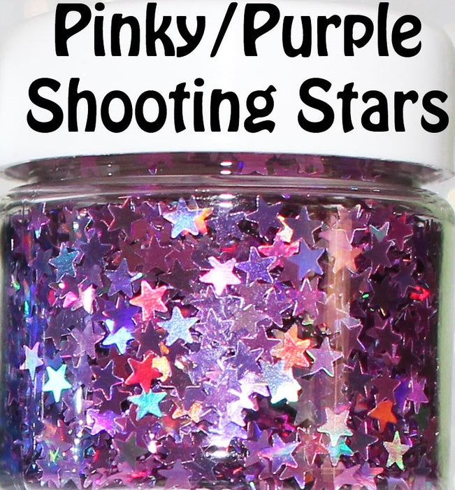 Pinky/Purple Shooting Stars Body Glitter GlitterLambs.com Chunky Holographic Body Glitter