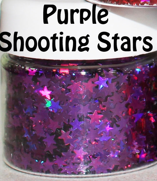 Purple Shooting Stars Body Glitter GlitterLambs.com Chunky Holographic Body Glitter