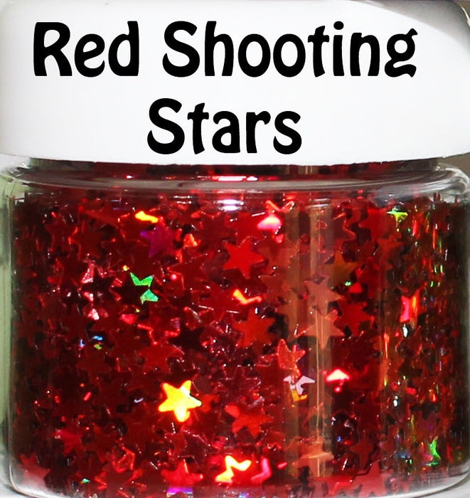 Red Shooting Stars Body Glitter GlitterLambs.com Chunky Holographic Body Glitter