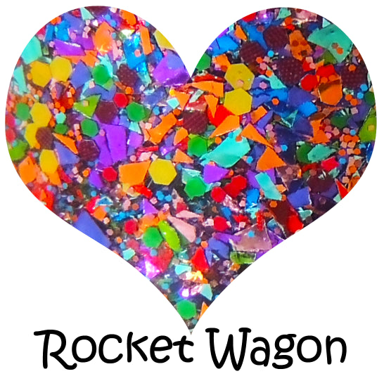 "Glitter Lambs ""Rocket Wagon"" glitter topper nail polish is a clear base glitter topper filled with metallic rainbow flakes in small to large chunks."