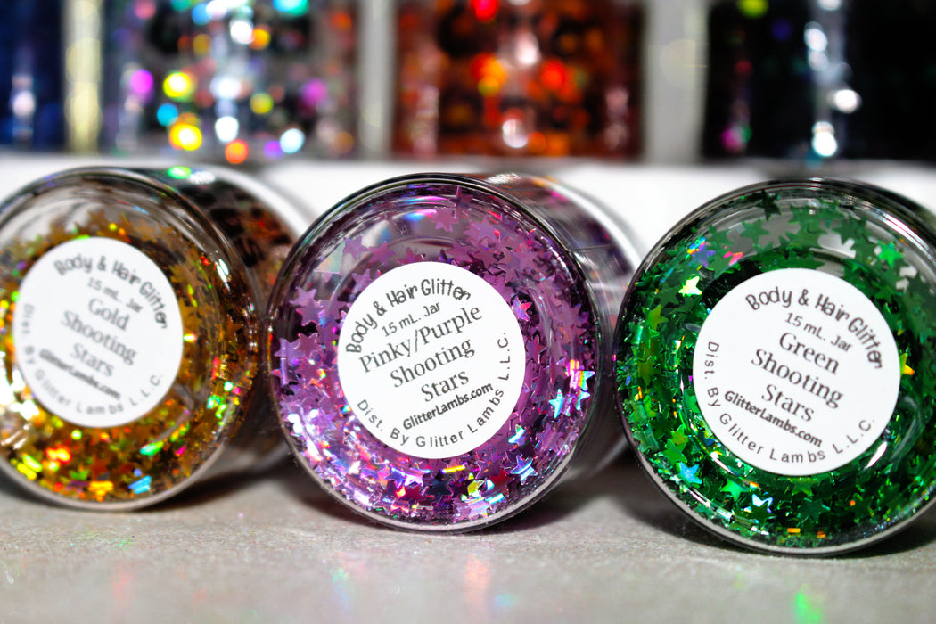 "Glitter Lambs ""Holographic Shooting Stars Collection"" Face, Skin & Hair Glitter Pots"