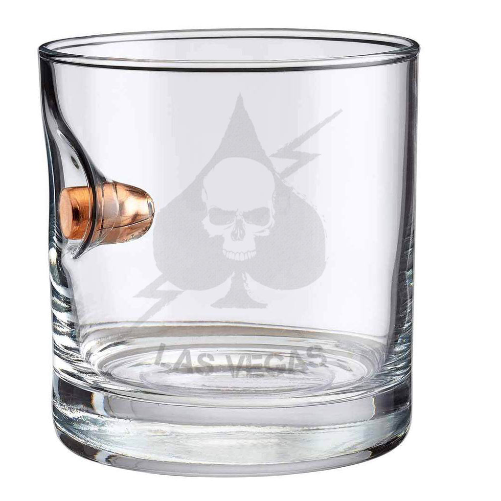Exclusive TAC + BenShot Ace of Spades .45ACP Rocks Glass - 11oz
