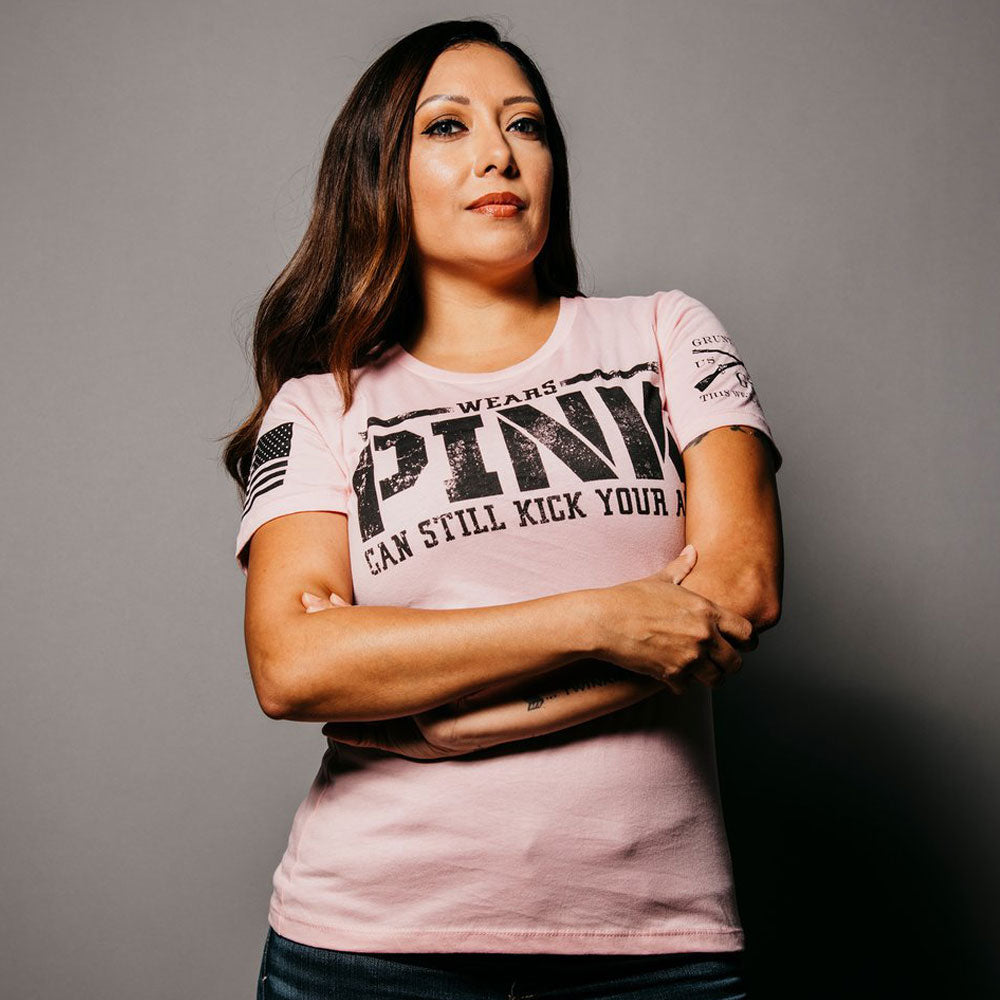 Grunt Style Women's Wears Pink, Kicks Ass Tee