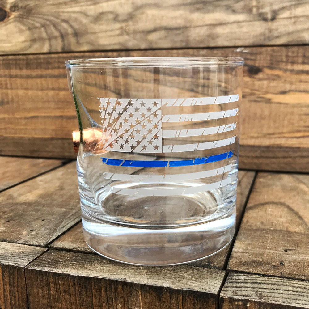 BenShot Thin Blue Line .45 Rocks Glass - 11oz
