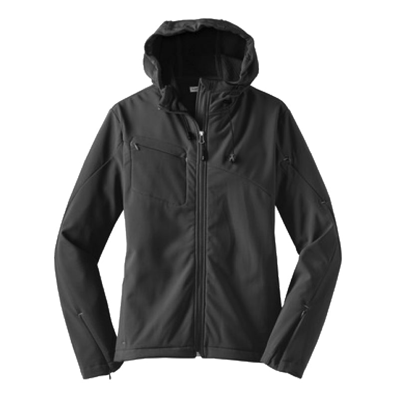 WOMEN'S TEXTURED HOODED SOFTSHELL JACKET