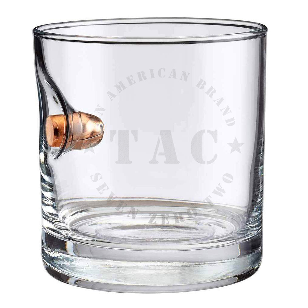 Exclusive TAC + BenShot TAC702 Logo .45ACP Rocks Glass - 11oz