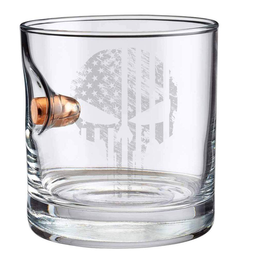 Exclusive TAC + BenShot Skull Flag .45ACP Rocks Glass - 11oz
