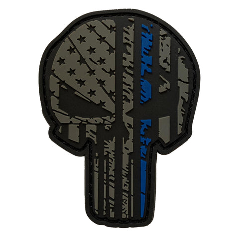 TAC 702 - Thin Blue Line Skull Patch