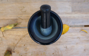 Black Carved Mortar & Pestle