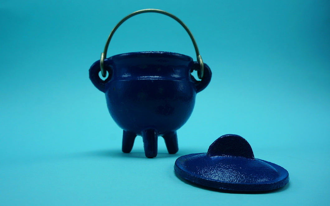 Cast Iron Cauldron Blue
