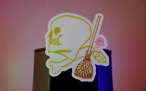 Skull & Broomstick Sticker