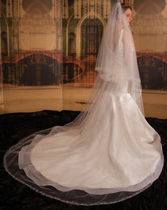 Baroque veil with beading style #6