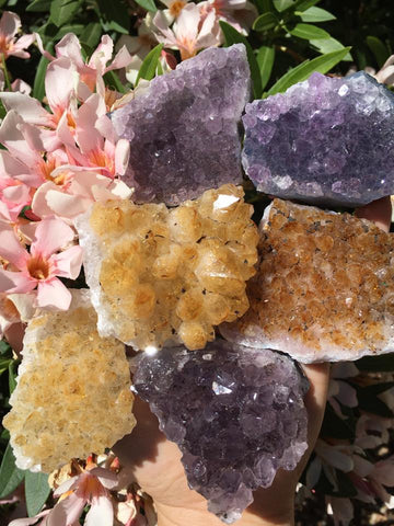 Amethyst and heat treated citrine clusters