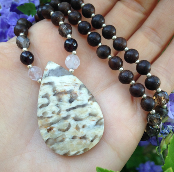 108-bead mala with eaglewood, zebradorite, and rose quartz