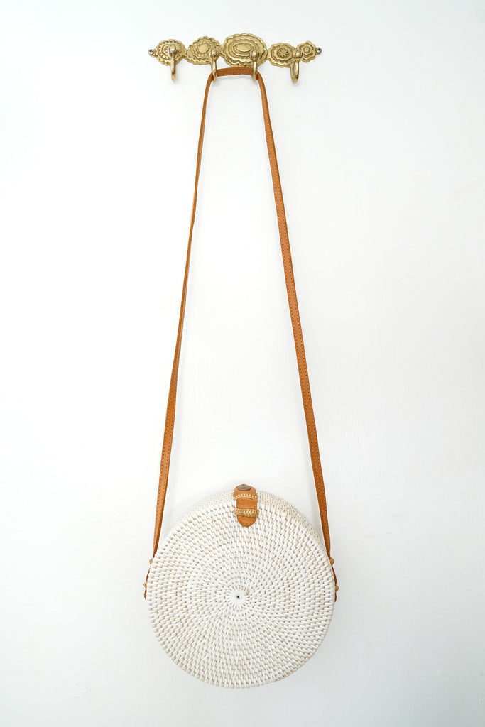 The Crossbody Full-Moon Bag - Solid With Teal Aloha Print