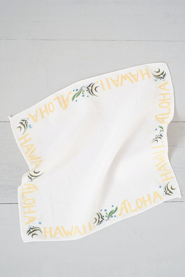 Soft Vintage Yellow Angelfish Hawaii Aloha Hankie Scarf