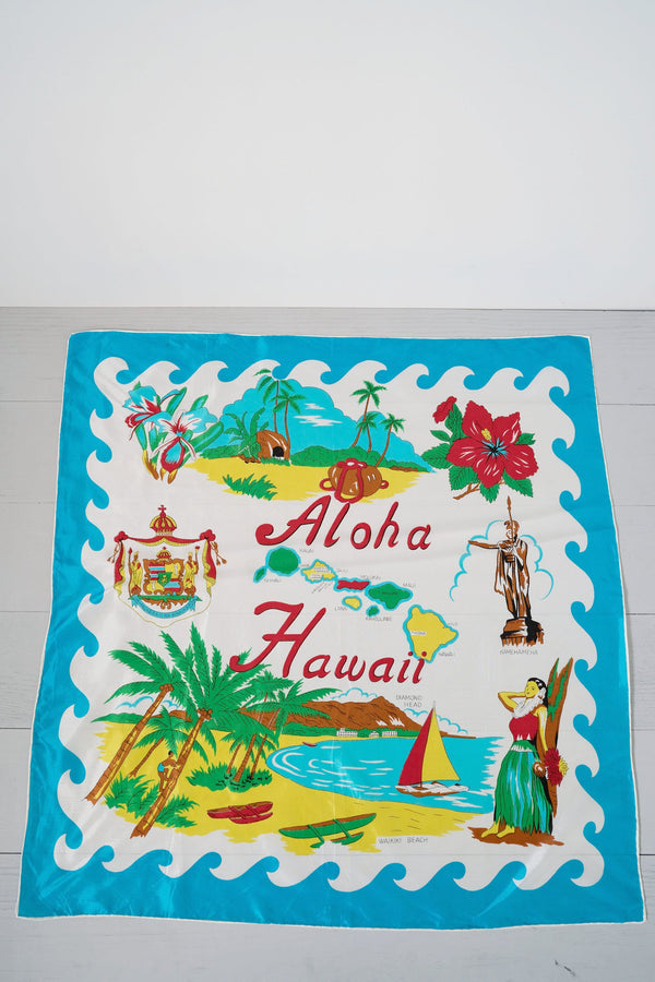 Silky, Colorful Vintage Aloha Hawaii Hula Girl Beach Scene Scarf
