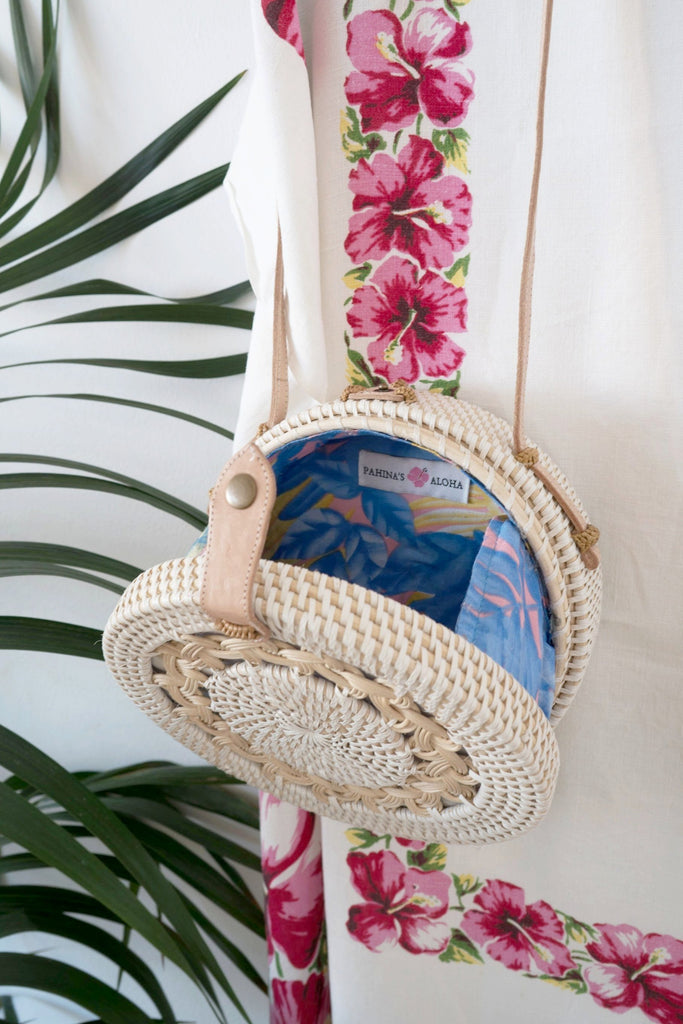 The Crossbody Full-Moon Bag - Braided With Pastel Palm Print