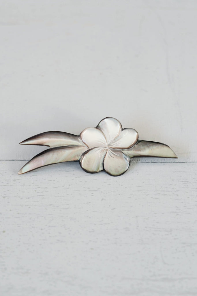 Vintage Silver Abalone / Mother of Pearl Hawaiian Plumeria Pin
