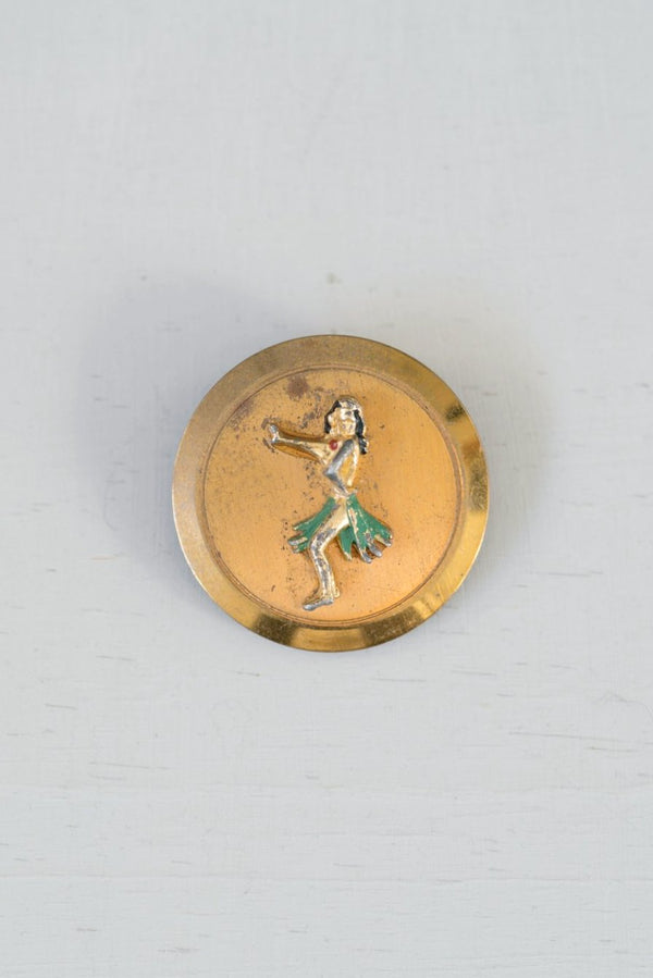 Vintage Gold Dancing Hula Girl Money Clip