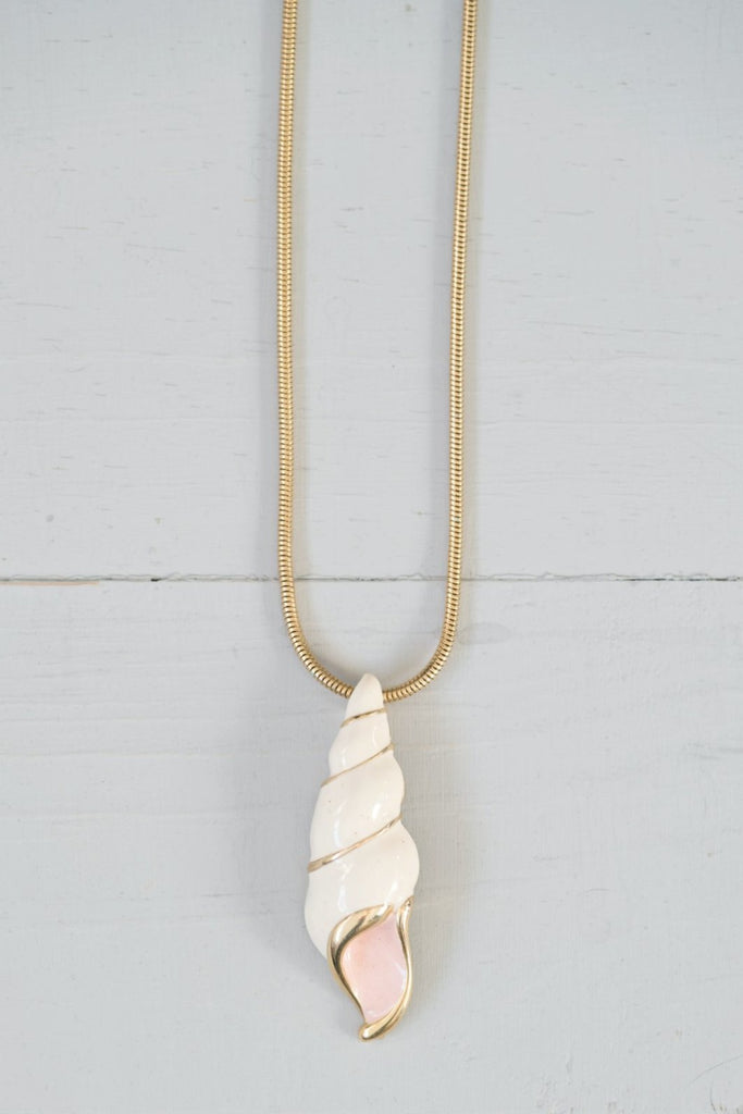 Vintage Gold Mermaid Seashell Pendant Necklace