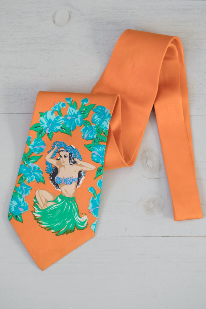 Vintage Orange Silk Hawaiian Pin-Up Hula Girl Tie