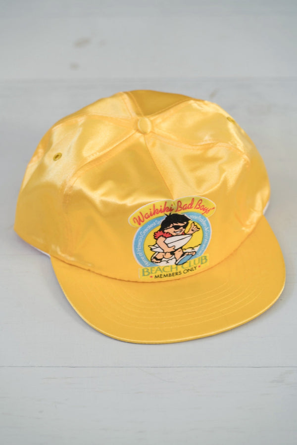 Vintage Shiny Gold Waikiki Bad Boys Beach Club Strapback Hat