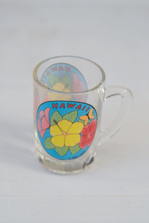 Glass Hawaii Hibiscus Shot Glass With Handle