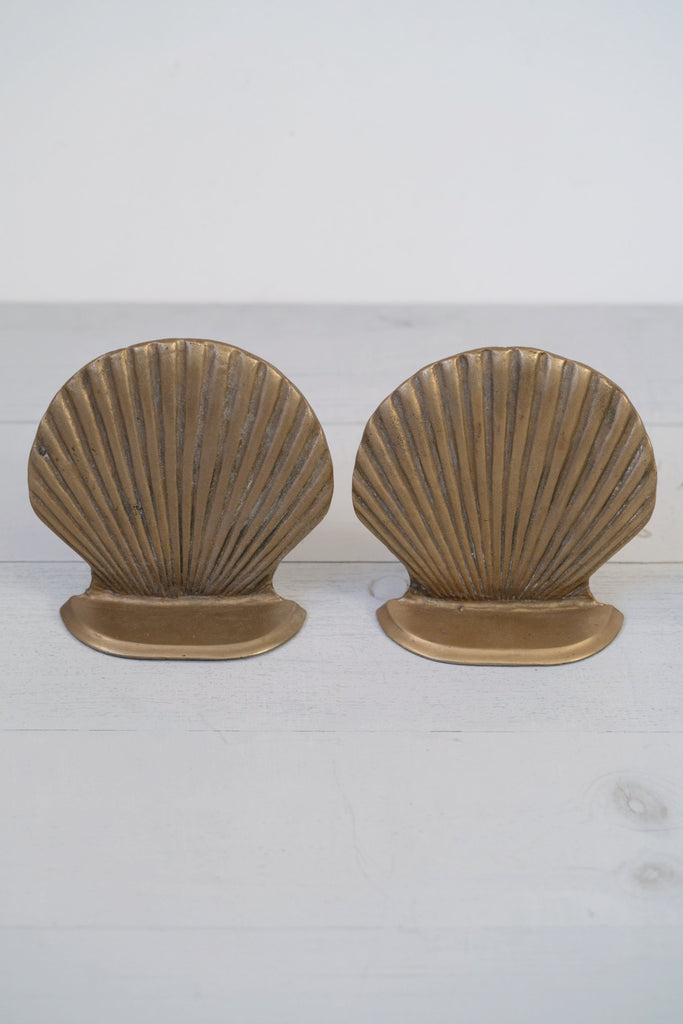 Vintage Sophisticated Solid Brass Scallop Shell Bookends