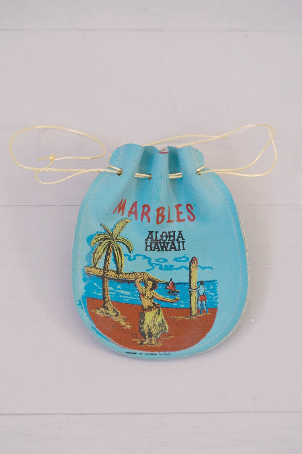 Vintage 1950s Blue Leather Hula Girl Marbles Change Pouch