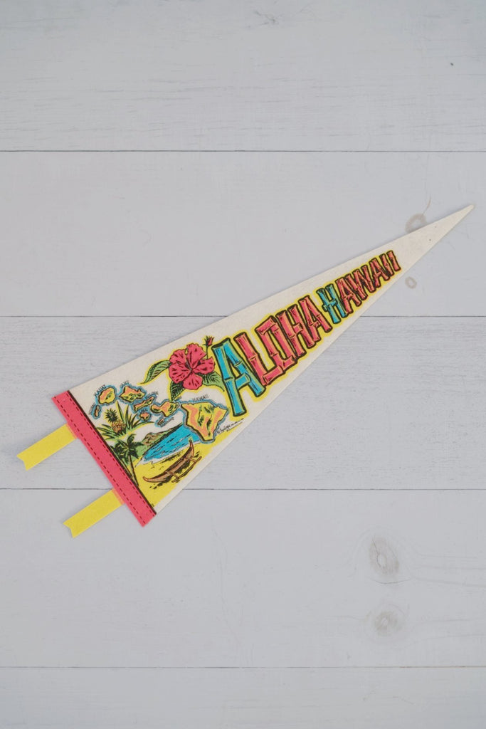 Vintage 1970s Colorful Felt Aloha Hawaii Pennant Flag