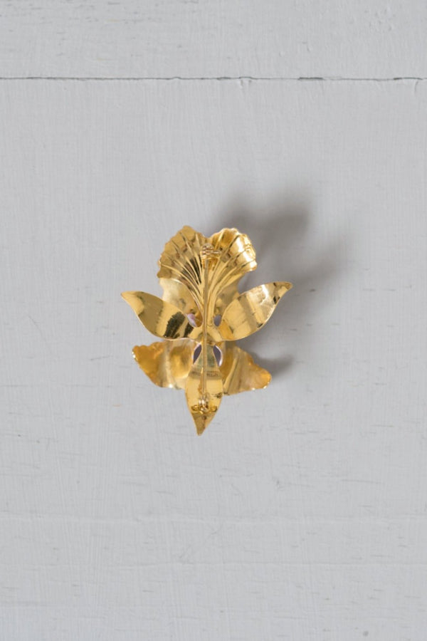 Vintage Lavender Enamel and Gold-Tone Orchid Flower Pin / Brooch