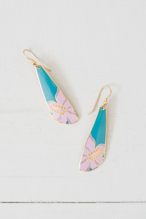 Vintage Teal-and-Lavender Laurel Burch Hibiscus Dangle Earrings