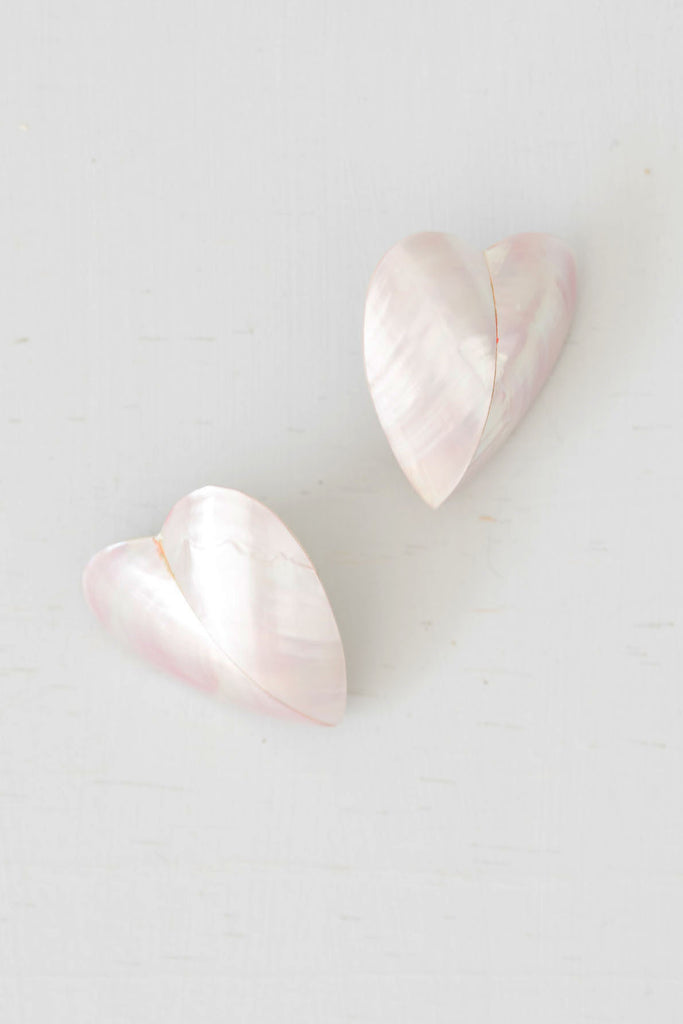 Vintage Pale Purple Mother-of-Pearl Heart Earrings