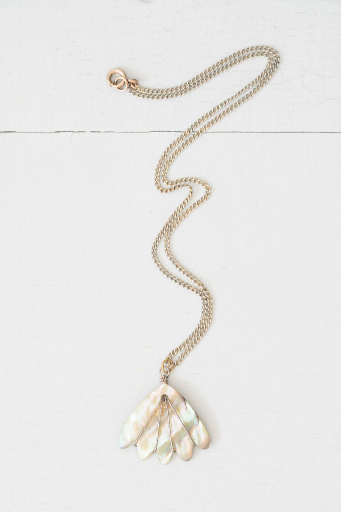Vintage Abalone Wing-Shaped Pendant Silver Chain Necklace