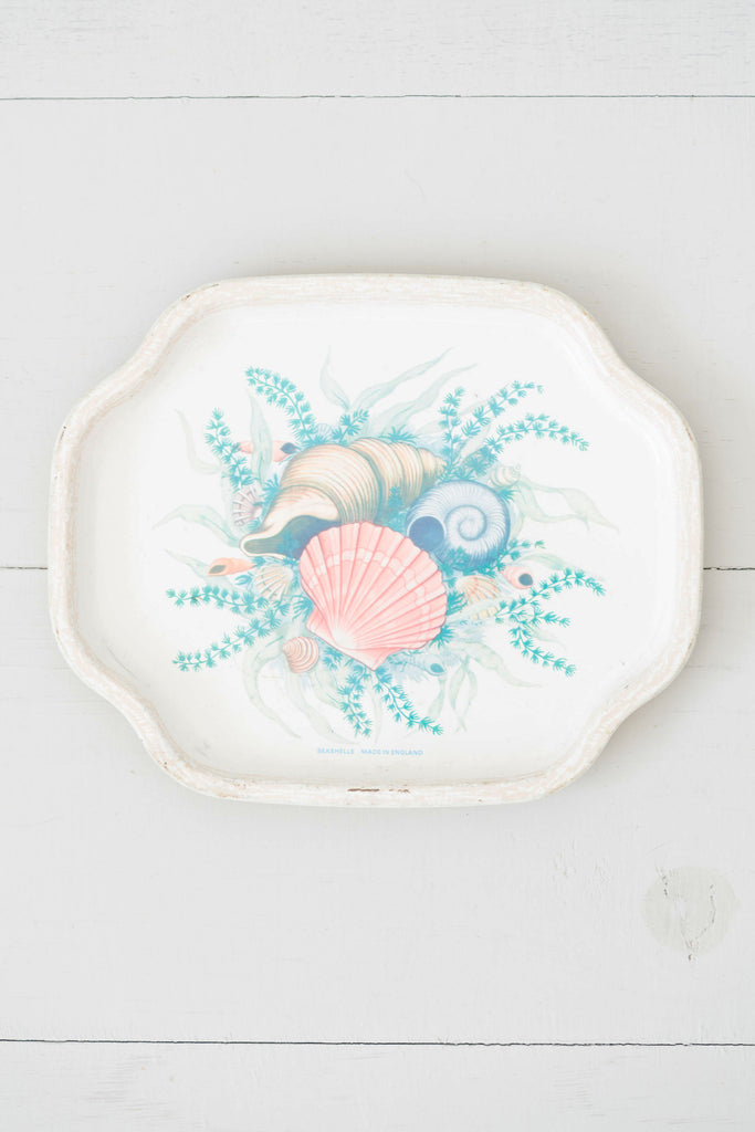 Vintage Enamel Seashells Tray - Made in England