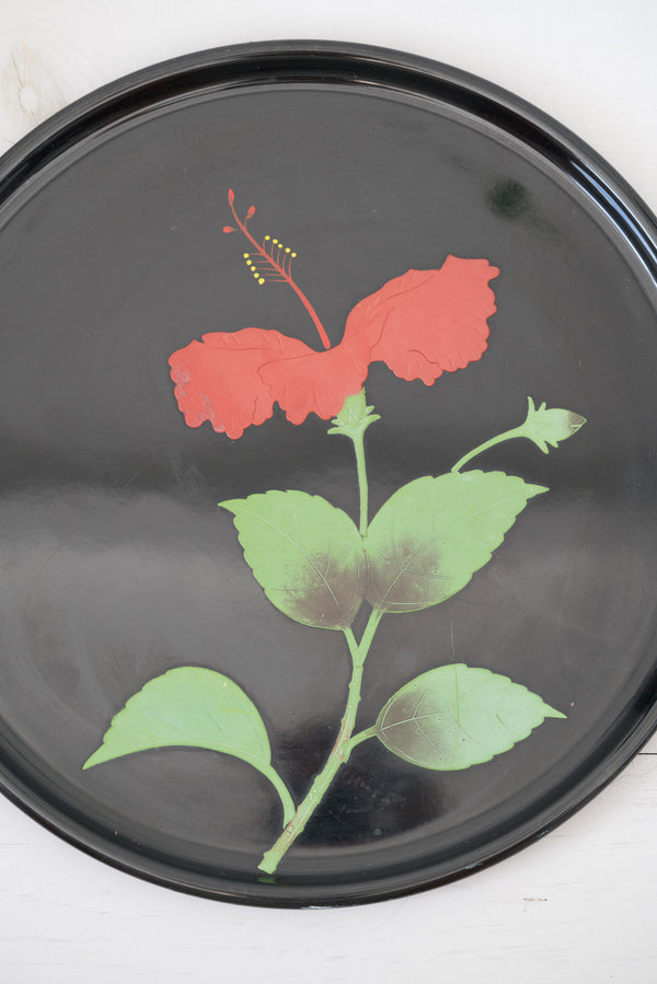 Vintage Japanese Black and Red Hibiscus Ryukyu Lacquer Tray