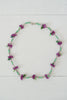 Short Beaded Purple Tropical Flower Necklace