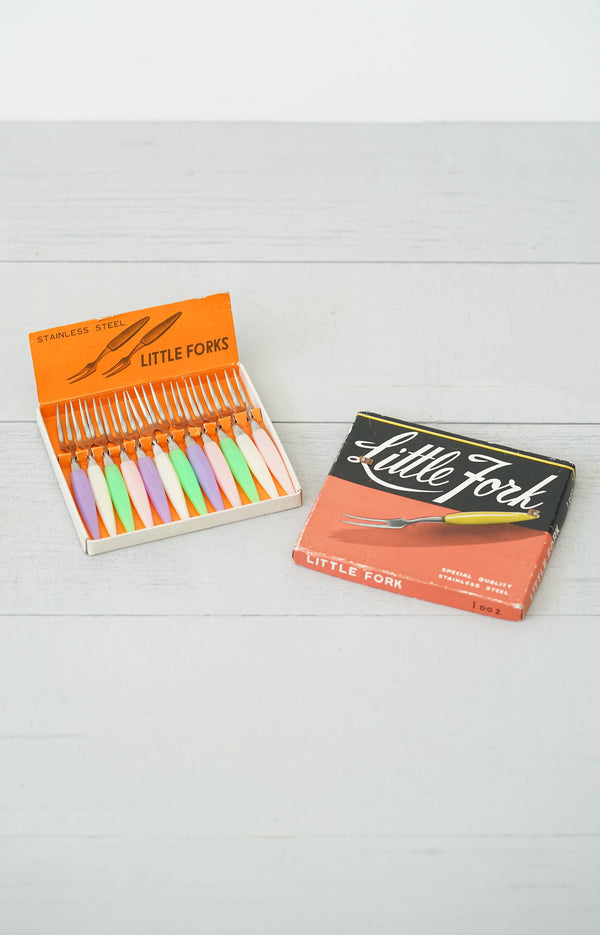 "Vintage 1950s Colorful Pastel ""Little Fork"" Set in Original Box"