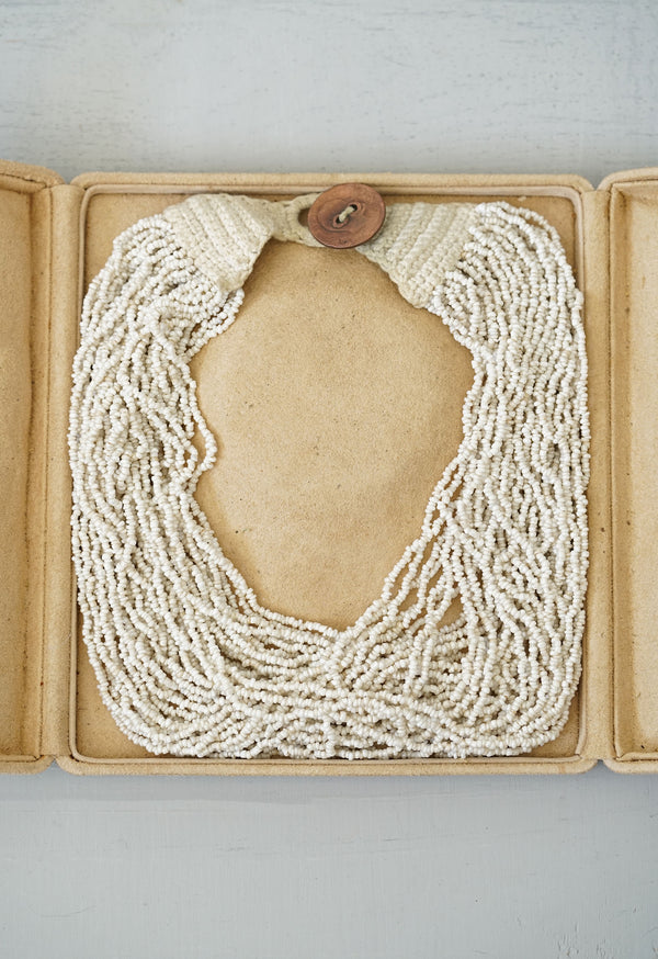 Vintage Freshwater Pearl Beaded Crochet Necklace With Coin Closure and Leather Box