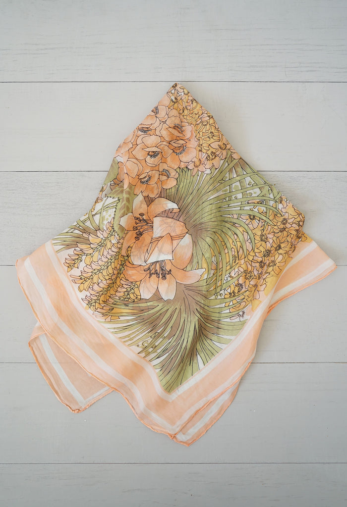 Vintage Silk Peach Lily Palm Flower Scarf