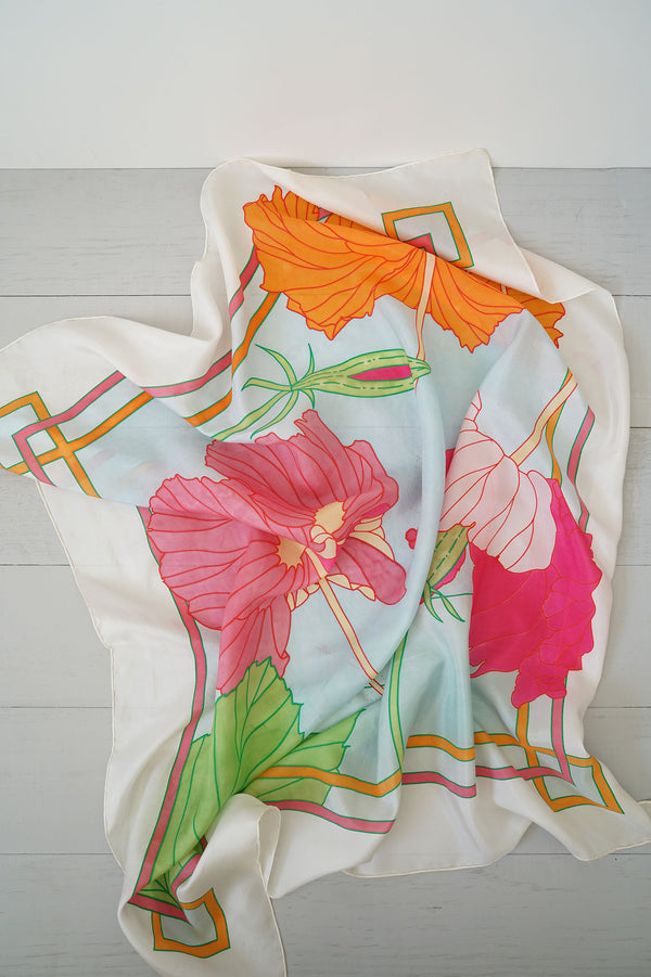 Vintage Bright Colorful Hibiscus Flower Silk Scarf